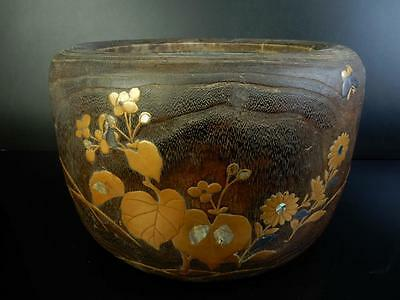 F4546:Japanese Wooden Flower Butterfly gold lacquer pattern CHACOAL BRAZIER