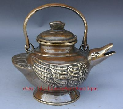 Chinese ancient  copper Handwork Carved duck Teapot / daqing mark