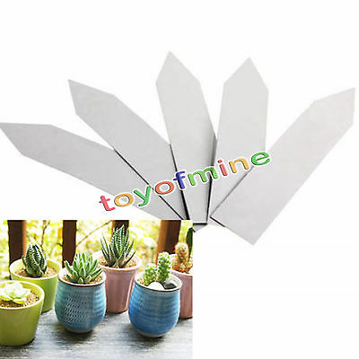 "4"" Plant Pot Markers Plastic Garden Stake Tags Nursery seed Labels 100pcs white"