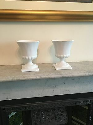 Pair of Vintage Greek White Milk Glass Vase Planter Urn Square Footed