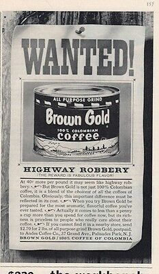 "1962 Brown Gold Coffee PRINT AD ""Wanted"" Highway Robbery fun kitchen decor"