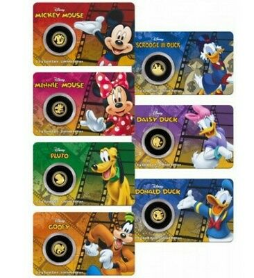 2016 Disney Collection - Mickey & Friends 7 x 0.5 Grams Gold Proof Coins Set