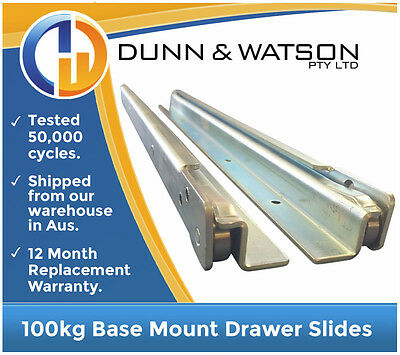 500mm to 1600mm 100kg Base Mount Drawer Slides / Fridge Runners - Draw Trailers