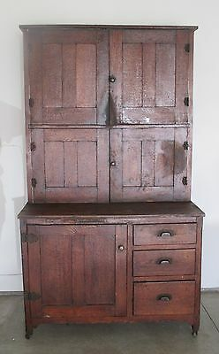 Early Antique Hoosier Cabinet Local Pick Up Very Heavy and large Metal wheels