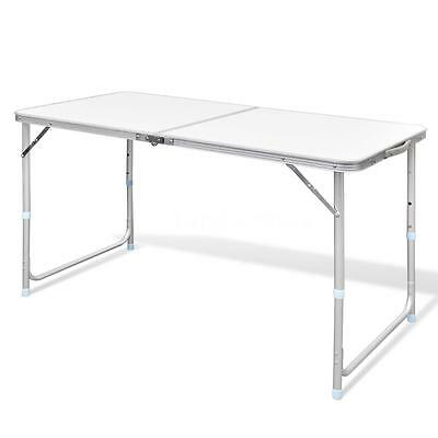 Foldable Camping Table Height Adjustable Aluminium 120 x 60 cm W7G8
