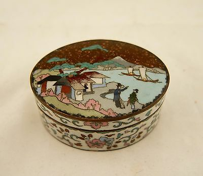 Meiji Japanese antique wired Cloisonne jippo enamel village scene floral box