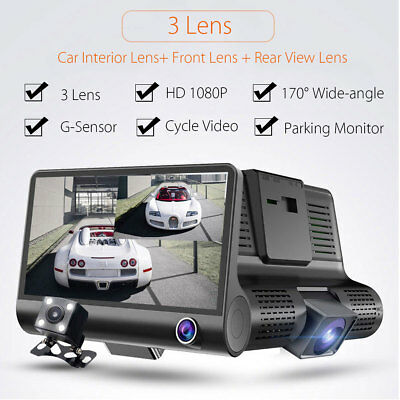4'' HD 1080P Dual Lens Car DVR Dash Cam G-sensor Video Recorder+ Rearview Camera