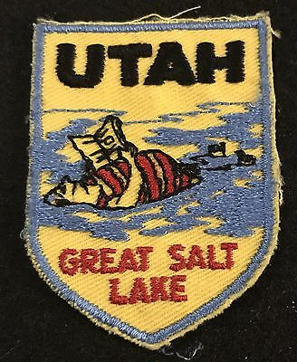 UTAH Vtg Patch THE GREAT SALT LAKE State Souvenir Travel VOYAGER Embroidered