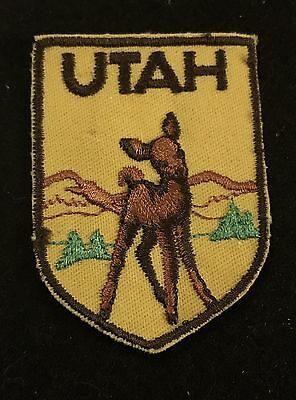 UTAH Vtg Patch FAWN State Souvenir Travel VOYAGER Embroidered