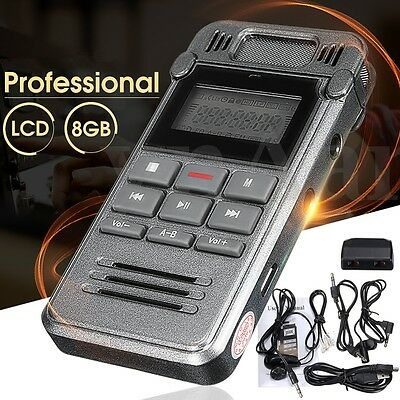 8GB Portable LCD Metal Digital Audio Voice Recorder Dictaphone MP3 Player U Dish
