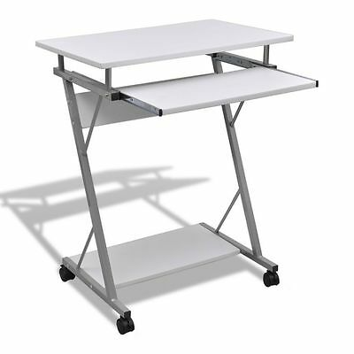 White  Mobile Computer Table Desk Laptop Stand Keyboard Tray Office Student NEW