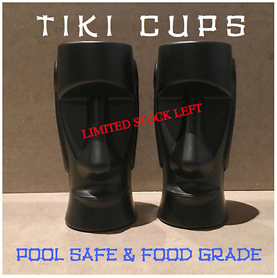 NEW TIKI CUPS X2 x New Party Cups BLACK