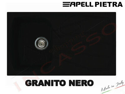 Lavello Fragranite Incasso Cucina Apell PT861GB 86X50 1V+Gocc. Granito Nero
