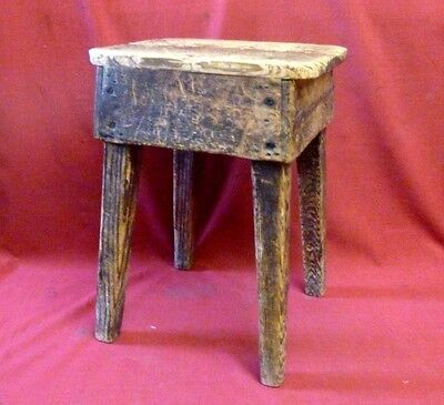 Antique Vintage Rustic Traditional Pine Stool