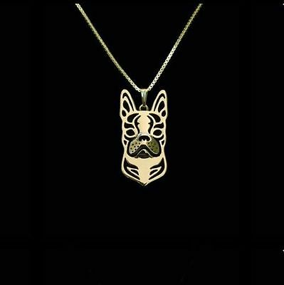 Boston Terrier Dog Pendant Necklace Gold ANIMAL RESCUE DONATION