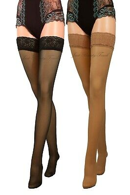 New Lace Top Sheer Lycra Hold Ups 40 Denier  Sensuous Stockings Black Beige