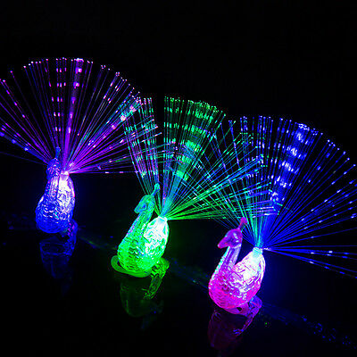 5-10pcs Plastic Finger Light Up Ring LED Party Glowing Dark Peacock Kid Game Toy