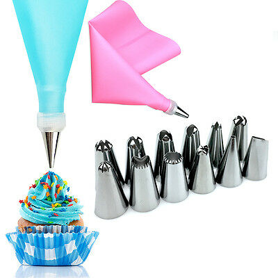 Silicone Icing Piping Cream Pastry Bags+12 Nozzle Cake Decorating Baking Tools