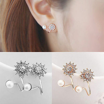 Women's Pearl Rhinestone Crystal Earrings Fashion Elegant Lady Ear Stud Jewelry