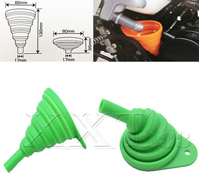 Universal Motor Silicone Gel Practical Foldable Collapsible Funnel Hopper Green
