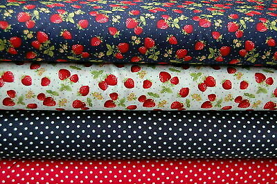 Rose & Hubble Strawberries & Polka Dots 100% Cotton Poplin Fabric FQ/Metre