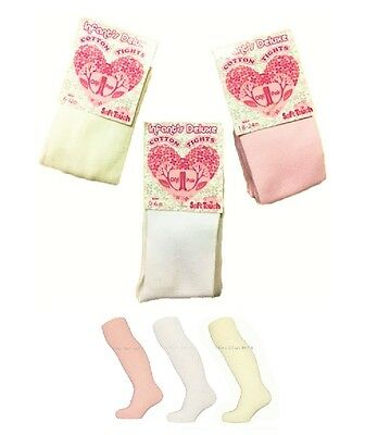 Soft Touch Baby Girls Plain Soft Knit Cotton Rich Tights WHITE CREAM PINK
