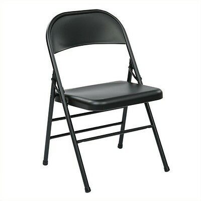 Office Star FF Series Folding Chair with Metal Seat and Back in Black