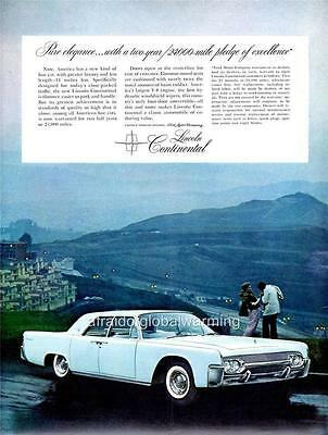 Old Print.  White 1961 Lincoln Continental 4-Door Sedan Car Ad