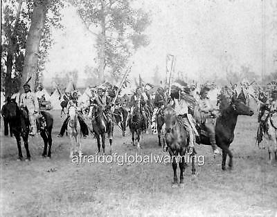 Photo 1899.  Sioux Indians on Horses going to Council