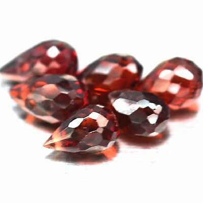 NATURAL ATTRACTIVE RED GARNET GEMSTONES BRIOLETTE CUT TOP DRILLED (3 pieces)