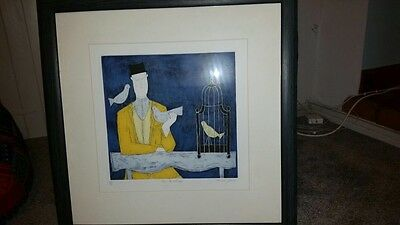 Annora Spence Man with Bird Cage Limited Edition Print 45 Of 150