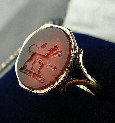Antique 18ct Gold Carnelian Intaglio Seal Ring Of A Lion.