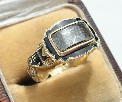Victorian 18ct Gold Hairwork Enamel Ring With Scrolling Band: In Memory Of.