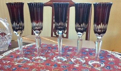 """set of 5 hand cut European crystal glass flute goblet 10"""" ruby red"""