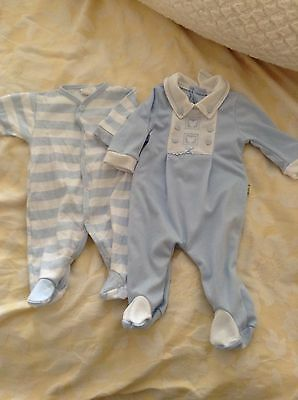 2 Babygrows Baby Boys Outfit 0 3 Months Blue Spanish Collar