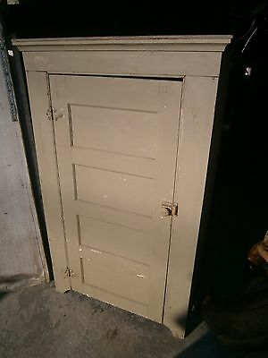 Antique Painted Jelly Cupboard 1 Door Pantry Country Cabinet w/ Shelves
