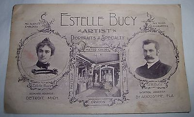 Estelle Bucy artist portrait painter Detroit Michigan advertising card 1890's