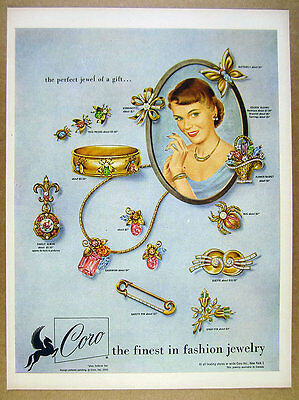 1950 Coro Fashion Jewelry pins necklace bracelet earrings vintage print Ad
