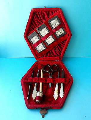 Antique Sew Kit,pretty Pearl Crochet Hook,file & Stiletto,,scissors,,thimble Etc