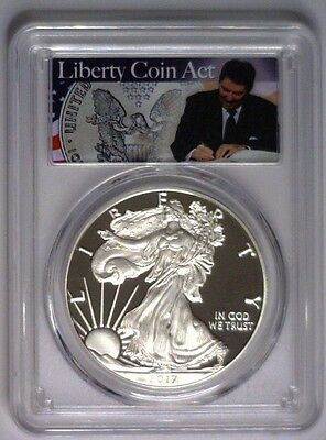 2017-S Pcgs Pr70 First Day Silver Eagle Reagan Liberty Coin Act ~ Low Mintage
