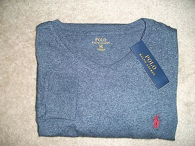 NWT Polo Ralph Lauren Mens Crew Neck Classic Fit Lng Sleeve T-Shirt Blue, Med.