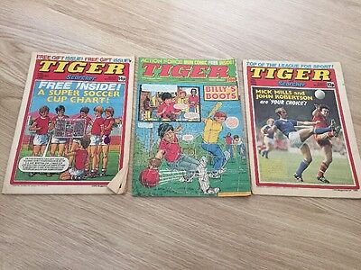 3X Tiger and Scorcher Football Magazine/Comics Bundle - Free Delivery - 1980s