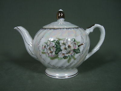 Vintage White Floral Teapot With Gold Trim Made In Japan