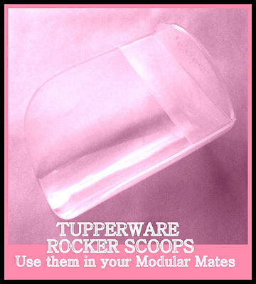 BNIP TUPPERWARE ROCKER SCOOPS X 3 - 1 cup size CLEAR Great in Modular Mates