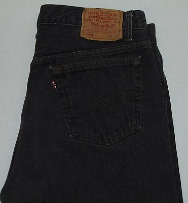 VINTAGE 80s Levi's 501 Button Fly Jeans Black 100% Cotton Size 36x30 Made in USA