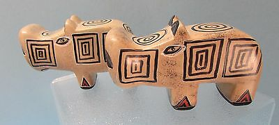 2 Carved Soapstone Hippos