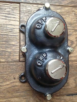 Vintage Old Industrial Walsall Double Light Switch Restored Perfect Original