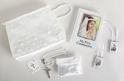 White Satin Pearl MY First  Communion 6 PC Purse Set  Missal Rosary Pin Scapula