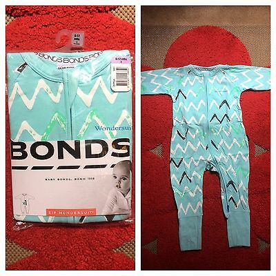 Bonds Wondersuit BNWT zippy 0 6-12 months coverall blue squiggles