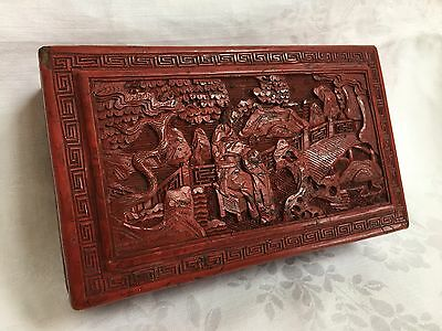 Fine Antique Chinese Carved Cinnabar Scenic Box Mother And Child